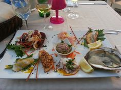 "#Sea food platter aka ""#antipasto #crudo"" at #IlPatio restaurant in #CastellammareDelGolfo"