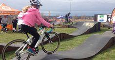 Mae Riding her 540R Kids Road Bike on the Bike Buller Pump Track