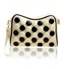 Casual Button and PU Leather Design Women's Clutch