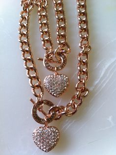 Guess rose gold necklace and bracelet