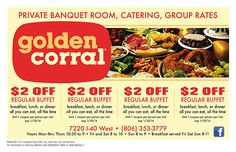 Golden Corral Coupon 2014 2$ OFF regular buffet breakfast, lunch or dinner http://www.pinterest.com/TakeCouponss/golden-corral-coupons/