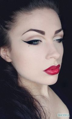 Dramatic winged liner and bright red lip eye make up #eyes #makeup #eyeshadow