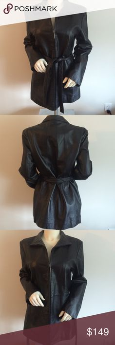 Wilson's Suede & Leather Jacket Beautiful black genuine leather zip front jacket with optional belt. Great for Fall! Wilsons Leather Jackets & Coats Utility Jackets