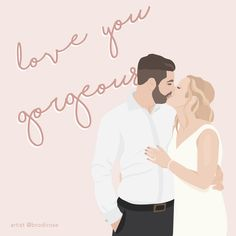 Order your custom, one-of-a-kind illustration. Illustrated by a professional designer in a modern, block colour style. Perfect for a gift, to use on social media or as a print in your home/office. Digital Illustration, Color Blocking, Love You, Social Media, Illustrations, Colour, Rose, Creative, Artist