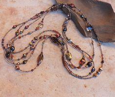 Beaded Winter Gemstone Necklace Set with Garnet Smoky Quartz