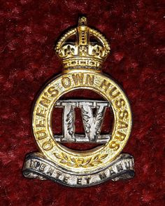 4th Queen's Own Hussars Officers KC silver and gilt cap badge