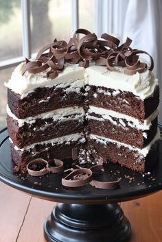 """Guinness Chocolate Cake and Irish Cream Frosting. AMAZING!!!! Made 2x8"""" cakes, took 50 minutes to bake. Only needed 2/3 of icing recipe to ice entire cake (including between layers)."""