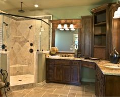 Corner shower with his and her separated sinks