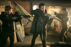 "Connor Jessup as Ben Mason, Noah Wyle as Tom Mason and Drew Roy as Hal Mason from the TV Show ""Falling Skies""."