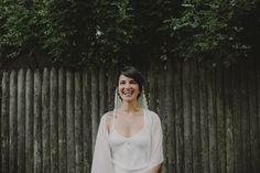 Bride Bridal portraits. Lauren + AJ Backyard Indie Bohemian Long Island DIY Wedding. Dress and veil: Lindsey Thornburg. Shoes: Raphaella Booz. Photographer: Chellise Michael Photography in Brooklyn, NYC