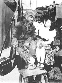 House of Frankenstein (1944) - The Wolf Man (Lon Chaney, Jr.) & Elena Verdugo on the set