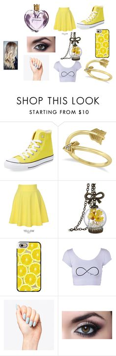 """""""Yellow!!"""" by adara-omgg-laceup ❤ liked on Polyvore featuring Converse, Allurez, QNIGIRLS, Casetify and Vera Wang"""