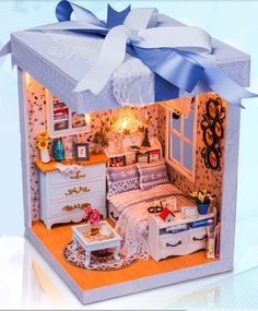 Giftbox Dollhouse DIY Miniature Handcraft Kit Gifts by UniTime