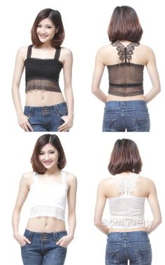 $8.22 Hollow-out Short Vest Top Lace Butterfly Back Sleeveless Sexy Girl Tank Slim Cami Camisole - BornPrettyStore.com