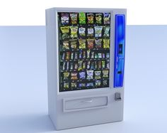 Buy a 3D snack vending machine model in FBX 3D format that works with most 3D modeling software.