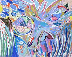 """Tableau """"Fond marin 2"""" de Vincent Dufour - Pastel sec de 40/50cm [tableau de style figuration libre et nouvelle figuration]"""