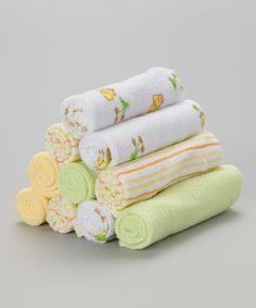 Look at this #zulilyfind! SpaSilk Yellow & Green Duck Washcloth Set by SpaSilk #zulilyfinds