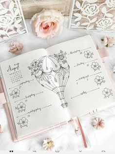 Hot air balloon decoration for weekly bullet journal spread - - Bullet Journal 2019, Bullet Journal Writing, Bullet Journal Spread, Bullet Journal Layout, Bullet Journal Ideas Pages, Bullet Journal Inspiration, Bullet Journal Decoration, Journal Notebook, Journals