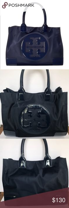 3432a93dfc8 TORY BURCH Ella Nylon Tote Navy Blue Minor scuffs from wear but in overall  excellent condition