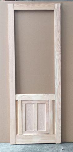 """Wood Screen Door with Built in Dog Door Flap, in Oak, 30"""" Wide #CoppaWoodworking"""