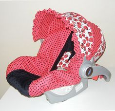 car seat cover I want! Ladybugs Infant Car Seat Cover by isewjo on Etsy, $79.00