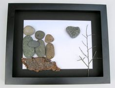 Personalized Family Gift - Uniqe Gift for Family of Three - Custom Stone Art Work - Original Home Decor on Etsy, $80.00 CAD