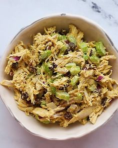 Healthy Curry Chicken Salad This curry chicken salad recipe with celery, onion and raisins is super flavorful and comes together fast using shredded chicken. It's an awesome salad to meal prep for lunches throughout the week. Healthy Dishes, Healthy Meal Prep, Healthy Salad Recipes, Healthy Eating, Clean Eating, Chicken Curry Salad, Chicken Salad Recipes, Chicken Salad Recipe With Raisins, Homemade Chicken Salads