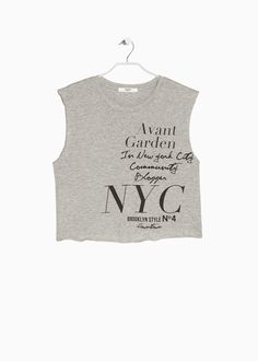 Sleeveless cropped t-shirt crafted in a cotton fabric. Round neck and printed message at front. Clothes Words, Brooklyn Style, Street One, Mixed Girls, T Shirt And Jeans, Slogan, Graphic Tees, Shirts, United Kingdom