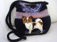Felted Purse: Papillon dog black lavender by FeltedFantasies ♡
