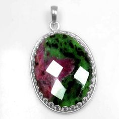 925 Sterling silver 11.10 Gram Natural Pure Ruby Zoisite Hand Made Oval Pendant #Handmade #Pendant