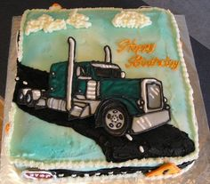 Semi Truck Cake - Semi truck made using color flow.