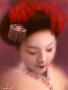 Pintura digital feita em um iPhone por Seikou Yamaoka. #iPhone #Art