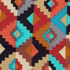 FABRIC35 Quilting COTTON PRINT Cranston Southwest Blocks Red Brown Turquoise 43 x 74 12-oz