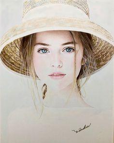 Portrait Sketches, Pencil Portrait, Portrait Art, Art Sketches, Cool Art Drawings, Pencil Art Drawings, Realistic Drawings, Watercolor Portraits, Watercolor Art