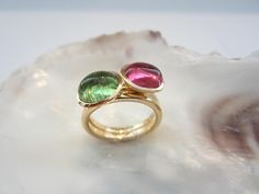 """Colour"" - Rings one-of-a-kind and handmade in Viennese goldsmith workshops in gold (white and middle 14 karat) with a tourmaline cabochon cut in pink, in light green, in light blue … to be continiued"