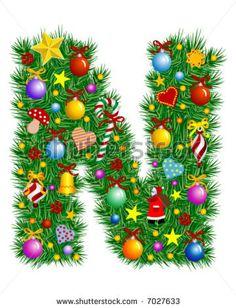 stock vector : Letter N - Christmas decoration - Alphabet