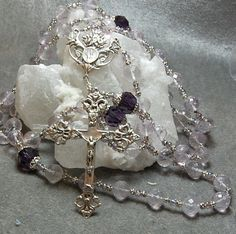 Ultimate Rose de France cable rosary Heavy Crucifix  Lavender and Purple Amethyst Lourdes Medal by HeartFelt Rosaries (HeartFeltRosaries.com by HeartFeltRosaries on Etsy