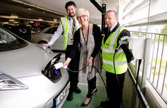 Dublin Airport landside facilities manager Valerie Singleton tops up an electric car at one of the new e-car charging points at the T2 multi-storey car park while DAA car park co-ordinators Padraig Lavin and Pat O'Keeffe look on.  http://www.dublinairport.com/gns/at-the-airport/latest-news/12-06-13/Power_Up_Your_ECar_At_Dublin_Airport.aspx
