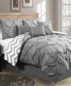 Geneva Home Fashions Grey Ella Pinch Reversible Comforter Set   zulily