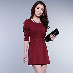 Women's Casual/Party/Work Micro-elastic Long Sleeve Above Knee Dress (Chiffon)