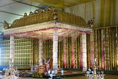 A South Indian Themed Wedding In Goa That Will Make You Drool! By Purple Tree Event Solutions Indian Wedding Stage, Wedding Stage Backdrop, Indian Wedding Receptions, Wedding Hall Decorations, Marriage Decoration, Wedding Mandap, Flower Decorations, Stage Backdrops, Ceremony Backdrop