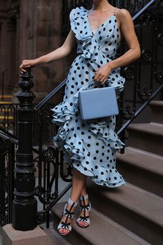 Blair Eadie wearing a ruffled polka dot dress by Johanna Ortiz // See more summer dress outfits on Atlantic-Pacific // Source by ijarda dresses party Summer Dress Outfits, Cute Outfits, Dress Summer, Trendy Dresses, Fashion Dresses, Baby Blue Dresses, Polka Dot Dresses, Dots Fashion, Fashion Details
