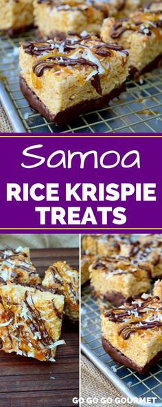 These Samoa Rice Krispie Treats are reminiscent of your favorite Girl Scout cook. These Samoa Rice Krispie Treats are reminiscent of your favorite Girl Scout cookie! With coconut, caramel and chocolate, you just can't go wrong! Homemade Rice Krispies Treats, Rice Crispy Treats, Krispie Treats, Rice Recipes For Dinner, Snack Recipes, Dessert Recipes, Popcorn Recipes, Cereal Recipes, Dessert Bars