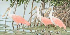 'Sanibel Spoonbills'  18x36   Original Acrylic Painting on Canvas.   Roseate Spoonbills in mangroves.