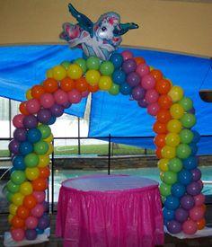 Party People Celebration Company - Special Event Decor Custom Balloon decor and Fabric Designs: My Little Pony Birthday Cumpleaños Rainbow Dash, Rainbow Dash Birthday, Rainbow Unicorn Party, My Little Pony Birthday Party, 4th Birthday Parties, Birthday Party Decorations, Birthday Ideas, Unicorn Balloon, 5th Birthday