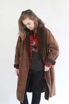 80's Long Brown Suede Sheepskin Coat by WastelandVintageUK on Etsy