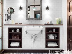 """Linden Blue Blog: Recessing the mirror/sconces allows for a ledge """"countertop"""" near the sink.  Recessed open shelving maximizes space on either side."""