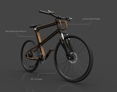 """Boske is the ultimate ecologic vehicle. Concieved as an """"IKEA"""" like kit furniture, the bike's frame is made of curved laminated wood and the mechanical pieces such as the front fork and the seat base, are made of aluminium extracted from recycled cans."""
