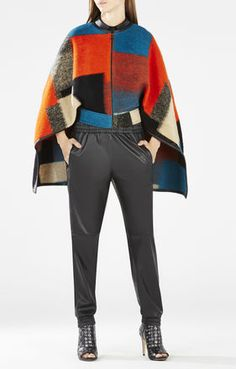 Walker Color-Blocked Wool Jacquard Cape