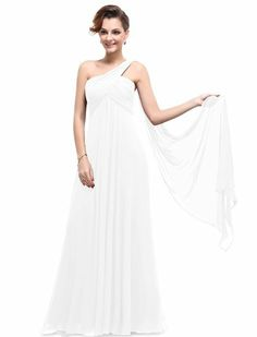 Ever Pretty One Shoulder Padded Ruffles Fashion Long Evening Dresses 09816, HE09816WH10, White, 8US